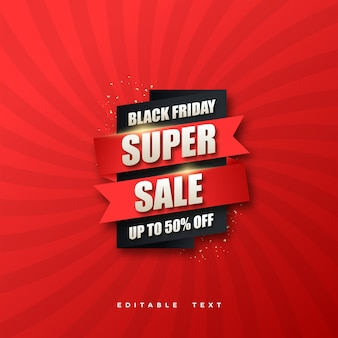 Venta de viernes negro con diseño rojo y negro sobre fondo rojo.