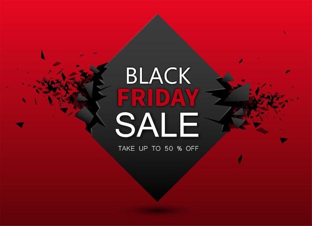 Venta de viernes negro fondo geométrico rojo hasta 50 por ciento de descuento