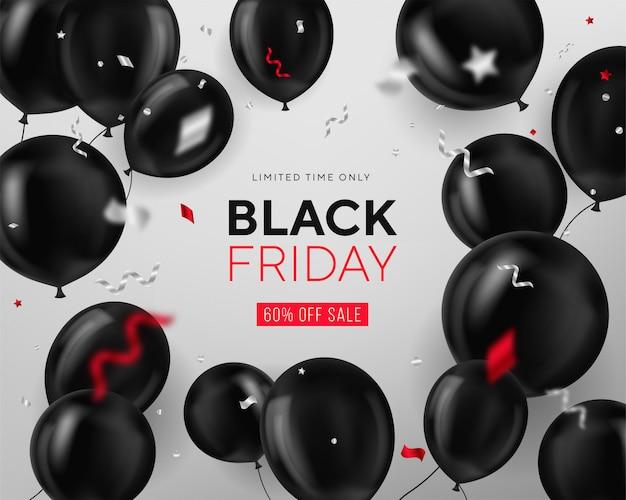 Venta de viernes negro con globos y serpentina. moderno. universal para póster, pancartas, folletos, tarjetas. banner web. cupón. página de destino.