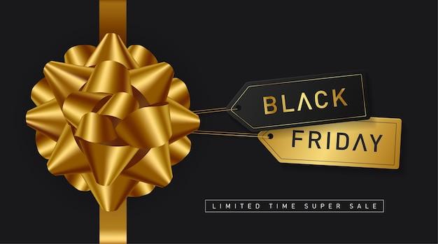 Venta de viernes negro con lazo dorado y etiquetas de precio.