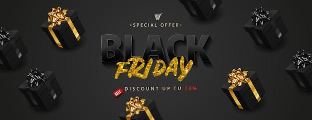 Venta de viernes negro. letras de texto dorado en cajas de regalo negras realistas.