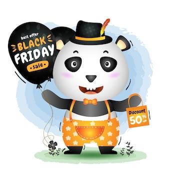 Venta de viernes negro con una linda promoción de globos con panda y una ilustración de bolsa de compras