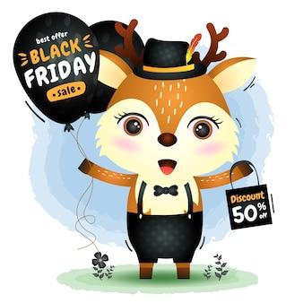 Venta de viernes negro con un lindo ciervo con promoción de globos e ilustración de bolsa de compras