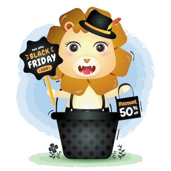 Venta de viernes negro con un lindo león en la canasta, promoción de tablero e ilustración de bolsa de compras