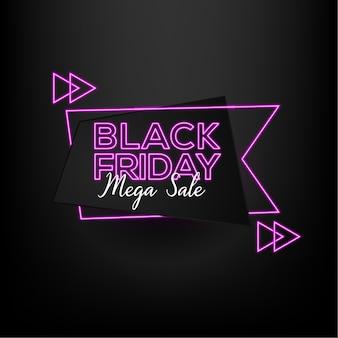 Venta de viernes negro mega venta con estilo de efecto neón y fondo negro