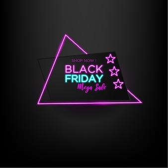 Venta de viernes negro mega venta con neón triangular y fondo negro