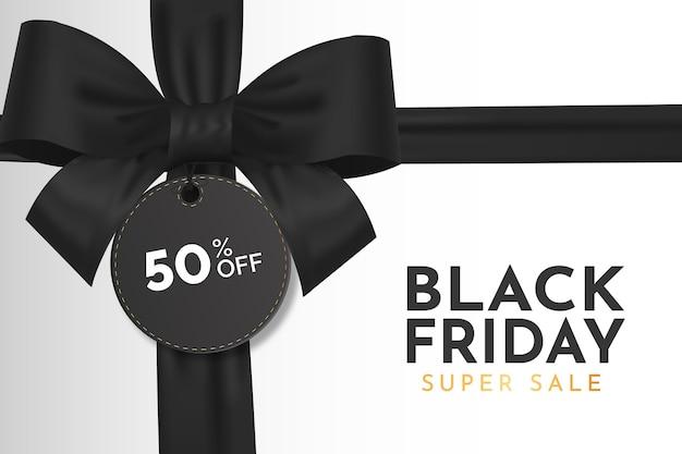 Venta de viernes negro moderno con cinta negra realista