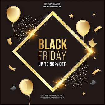 Venta de viernes negro moderno con marco dorado