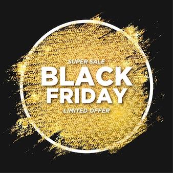 Venta de viernes negro moderno con pincel dorado brillante