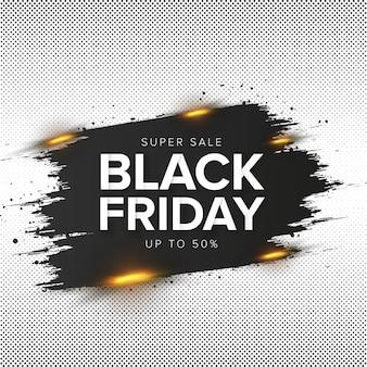 Venta de viernes negro moderno con trazo de pincel abstracto