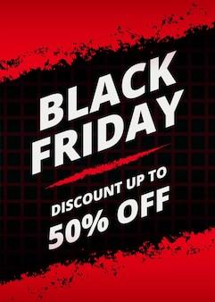Venta de viernes negro moderno con trazo de pincel rojo