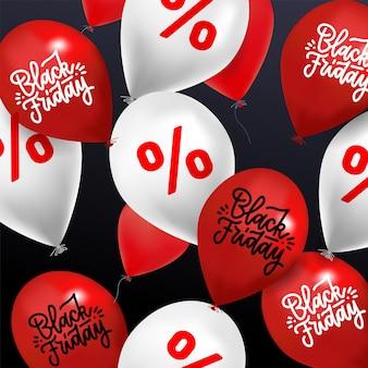 Venta de viernes negro: muchos globos con signo de porcentaje de descuento y letras dibujadas a mano black friday en color rojo y blanco