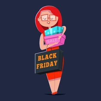 Venta de viernes negro. personaje de dibujos animados de vector de una linda niña sonriente con bolsas de compras y cajas de regalo