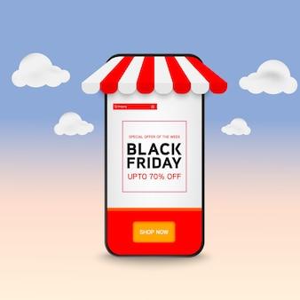Venta de viernes negro en smartphone móvil