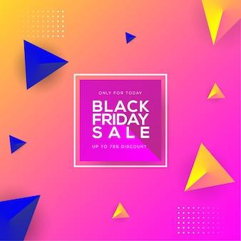 Venta de viernes negro solo para hoy con trazo de degradado triangular