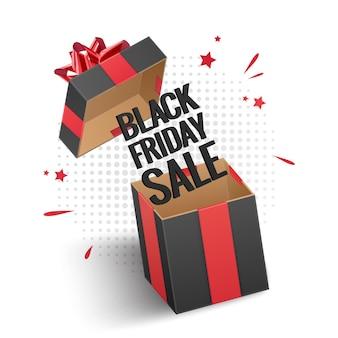 Venta de viernes negro, tarjeta con caja de regalo negra