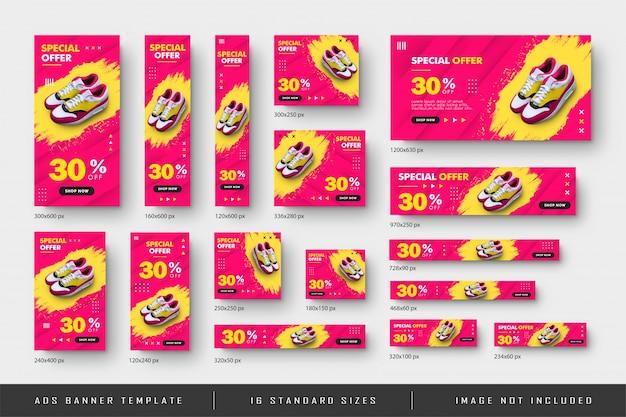 Venta de zapatos de banner web publicitario con efecto splash y plantilla de tamaño estándar