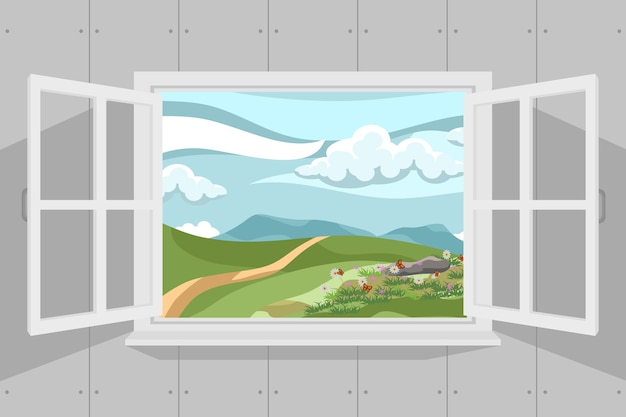 Ventana abierta con hermoso paisaje de verano. ilustración vectorial