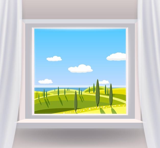 Ventana abierta interior casa con un paisaje rural vista naturaleza país primavera verano paisaje