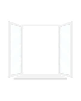 Ventana abierta con marco blanco.