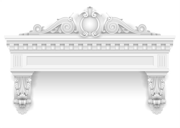 Ventana arquitectónica blanca clásica y decoración de fachada