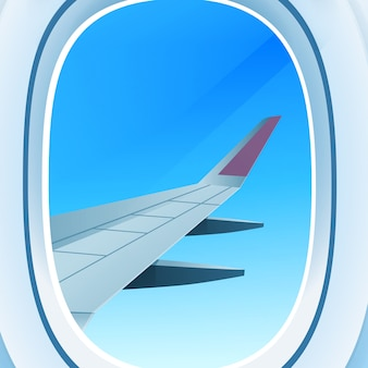 Ventana de avión abrió vista de ojo de buey en el cielo de espacio abierto con ilustración de vector de concepto de transporte aéreo de turismo de viaje de ala