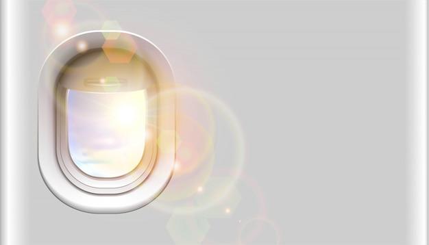 Ventana de avión con luz solar y copia espacio para su anuncio. aislado sobre fondo blanco