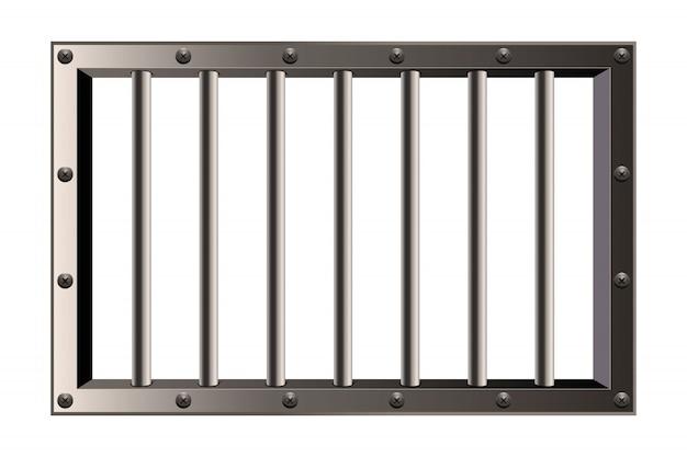 Ventana de barras de prisión detallada de metal realista.