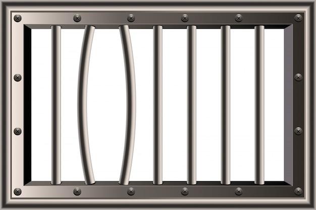 Ventana de barras de prisión detallada realista de metal.