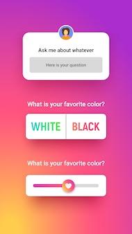 Ventana de encuesta en 3 estilos diferentes, respuesta de entrada, opción de elección y control deslizante. storie quiz para redes sociales.