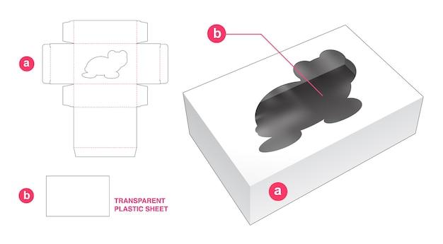 Ventana en forma de caja y tortuga con plantilla troquelada de lámina de plástico transparente