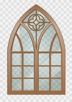 Ventana gótica de madera