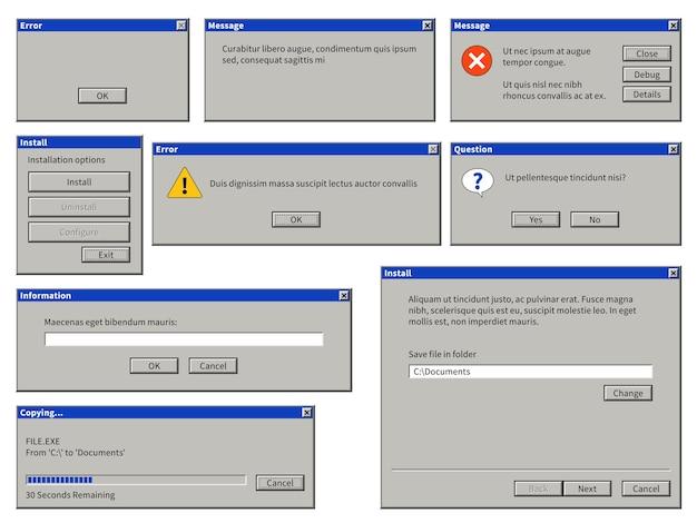 Ventana de interfaz de usuario antigua. cuadro de diálogo de navegador retro de computadora con botones. plantillas de mensajes de error emergentes de mensajes del sistema de advertencia