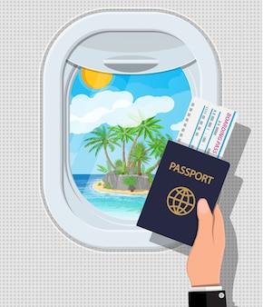 Ventana desde el interior del avión. mano con pasaporte y boleto. contraventana de ojo de buey para aviones. isla tropical con palmera en el océano. viaje aéreo o concepto de vacaciones. ilustración en estilo plano