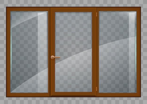 Ventana marrón con cristal transparente.