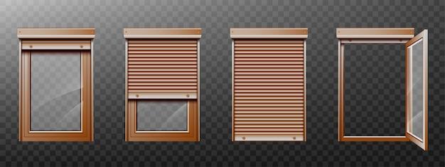 Ventana marrón con persiana enrollable y conjunto cerrado