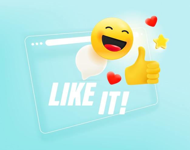 Ventana del navegador con diferentes emoji. me gusta concepto