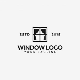 Ventana con plantilla de logotipo de cortina