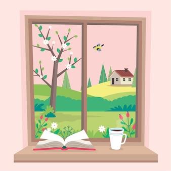 Ventana de primavera con vista, un libro y una taza de café en el alféizar.