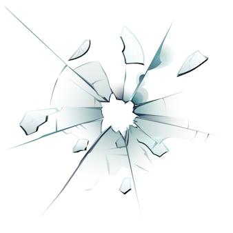 Ventana rota vidrio roto, grietas de agujeros de bala y fragmentos de vidrio de superficie vidriosa rota ilustración aislada realista