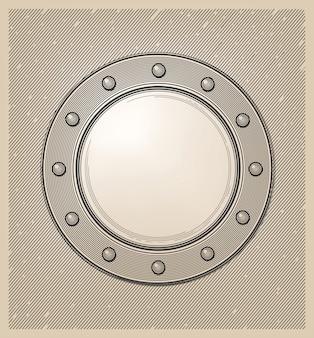 Ventana submarina o portilla en estilo grabado.