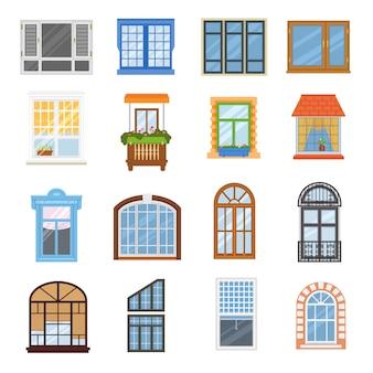 Ventana vector casa moderna vista vidrio marco arco ilustración conjunto
