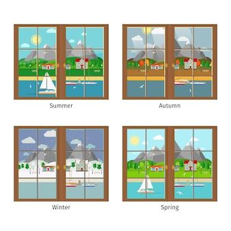 Ventana de vector en diferentes estaciones. verano y otoño, primavera e invierno, ventana, paisaje de montañas.