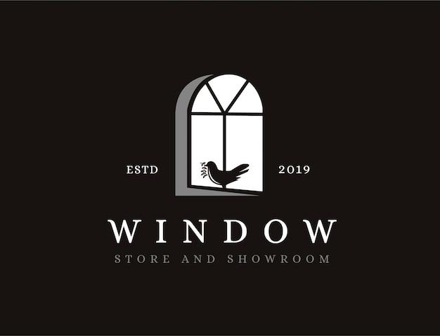 Ventana vintage y logo de pájaro