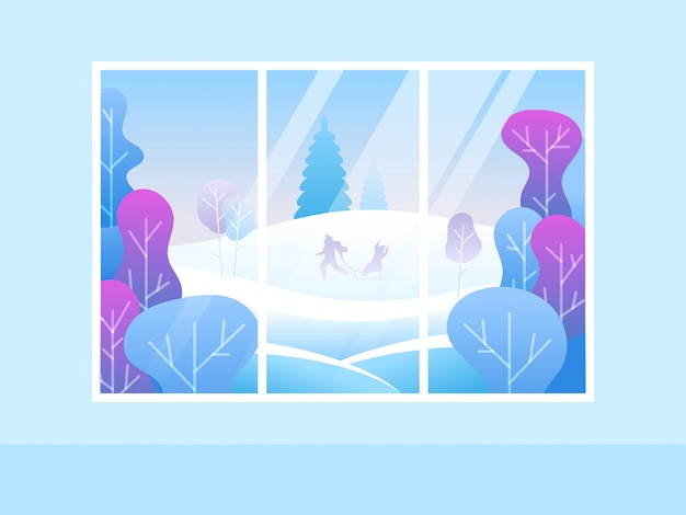 Ventana con vista al bosque nevado