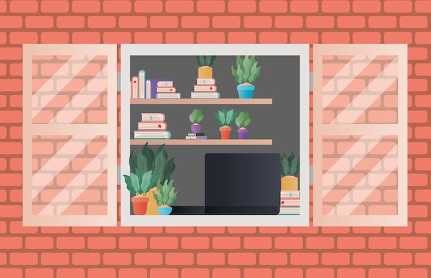 Ventana con vista al interior del diseño de la habitación, decoración del hogar, apartamento de construcción de vida interior y tema residencial