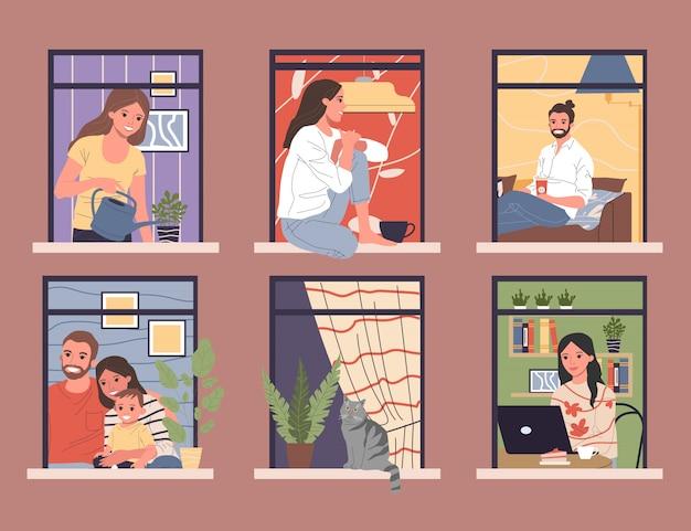 Ventanas abiertas con vecinos diversos y amigables en apartamentos