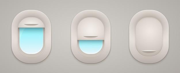 Ventanas de avión con cortinas abiertas y cerradas vista interior y exterior, espacio vacío.