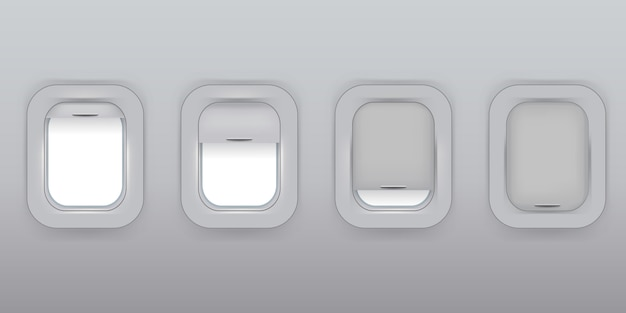 Ventanas de avión en una fila. aeronave. ventanas de avión abiertas y enclaustradas.
