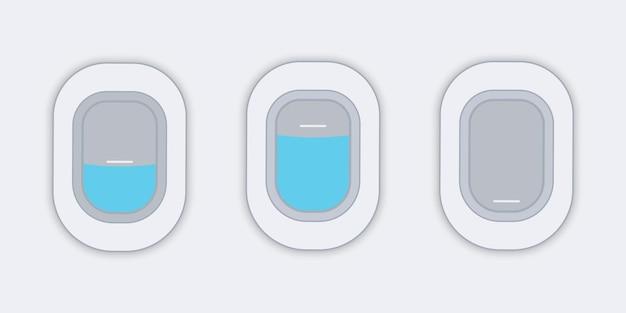 Ventanas de avión. vista desde el avión. banner de vector de web plana. concepto de viajes o turismo.